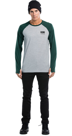Mons Royale M's Coreshot Raglan LS Green/Grey Marl